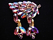Glimmering Vintage Aurora Borealis Lavender Rhinestone Brooch Earrings Demi Parure