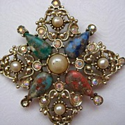 Vintage Signed Sarah Coventry Multi-Colored Marbled Stones Faux Pearl Brooch