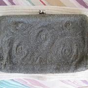 Saks Fifth Avenue Pewter Silvertone Beaded Clutch