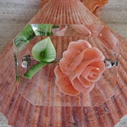 Lucite Peach Rose Brooch