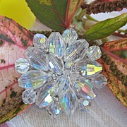 Awesome Faceted Oval Crystal Aurora Borealis  Rhinestone Brooch