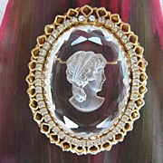 Gorgeous Intaglio Faceted Crystal Rhinestone Cameo Brooch