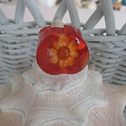Red Lucite Flower Heart Ring