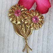 Large Pink Rhinestone Flower Brooch