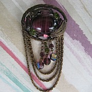 Large Purple Cabochon Rhinestone Brooch