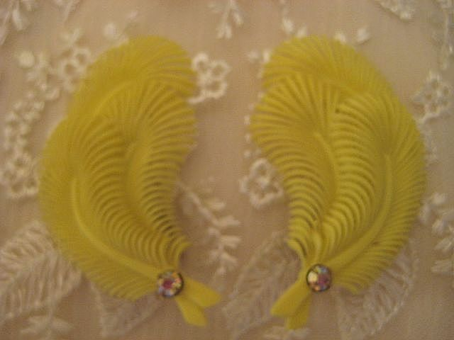 Tropical Canary Yellow Rhinestone Plastic Earrings