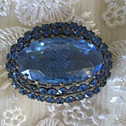 Gorgeous Victorian Blue Glass Faceted Stone Brooch