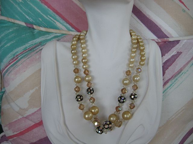 Champagne Colored Faux Pearl Rhinestone Rondelle Necklace