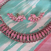 PINK Givre Rhinestone Necklace Earring Demi