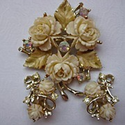 Emmons Rose Earrings Celluloid Aurora Borealis Brooch