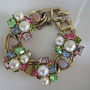 Gorgeous Colorful Rhinestone Faux Opal Pearl Bracelet