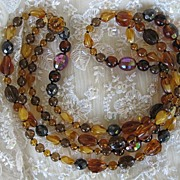 SALE Western Germany Fall Colored Glass Beaded Necklace
