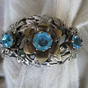 Engraved Silvertone Blue Rhinestone Flower Center Bracelet
