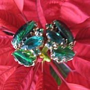 Emerald Green Clip Earrings