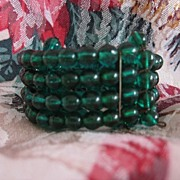 Christmas Green Glass Beaded Coil Bracelet