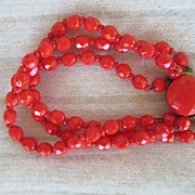 Festive Orange Glass Beaded Bracelet