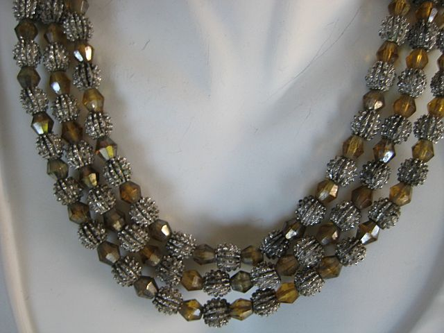 Trifari Three Strand Silvertone Golden Beaded Necklace