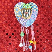 Sculpted Hand Painted Beaded Heart Pin