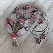 Pink and White Art Glass Rhinestone Brooch