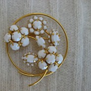 White Milk Glass Rhinestone Floral Brooch
