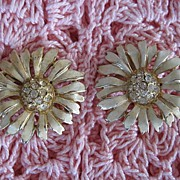 Reja Floral Rhinestone Clip Earrings