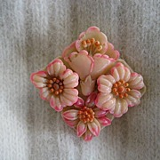 Peachy-Pink Floral Early Plastic Brooch