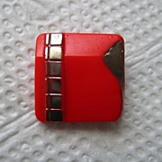 SALE Vintage Red Glass Button with Silver Lustre