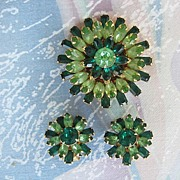 Kramer of New York Emerald Green Brooch Earring Demi