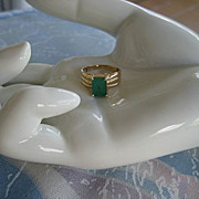 Solid 14KT Solid Gold Genuine 1.5 Carat Emerald Ring