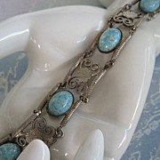 Turquoise Colored Glass Cabochon Silvertone Bracelet