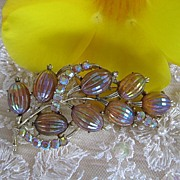 Coro Iridescent Fruit Salad Rhinestone Brooch