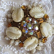 Weiss Topaz-Colored Rhinestone Frosted Celluloid AB Brooch