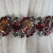 SALE Delizza and Elster Juliana Red Cat's Eye Rhinestone Bracelet