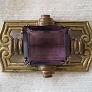 Art Deco Purple Faceted  Simulated Amethysts Brooch