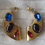 Large Cabochon Rhinestone Earrings