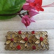 Art Deco Red Rhinestone Floral Brooch