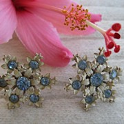 Snowflake Blue White Rhinestone Screwback Earrings