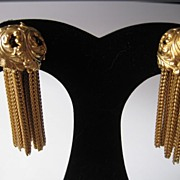 Gorgeous Ornate Dangle  Clip Earrings