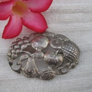 Sterling Silver Harvest Fruit Brooch