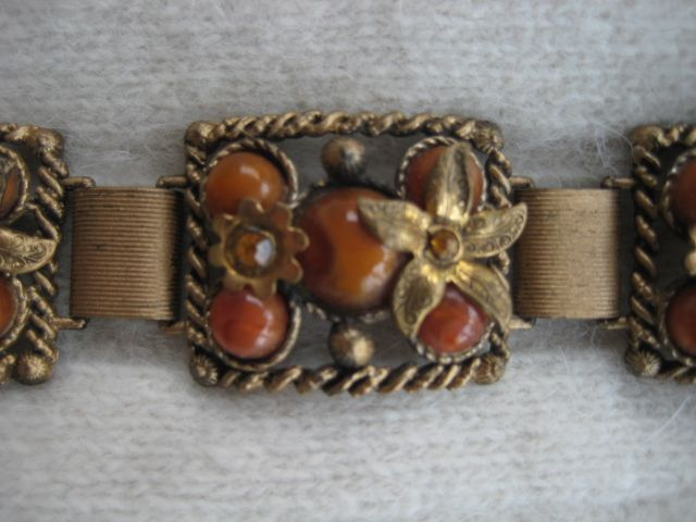 Copper Color Glass Cabochon Rhinestone Bracelet