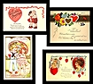 Four Very Cute Vintage Valentine Postcards