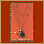 REDUCED 1980 Lone Ranger with Gun Drawn Charm Pendant Necklace