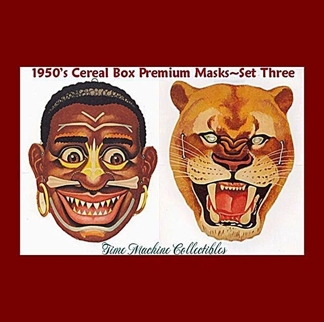 1950's Native Warrior & African Lion Masks--Cereal Box Premium
