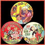 SALE Three Adorable 1950�s Toy Toon Picture Disc Kiddie Records