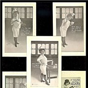 SALE 1910 F.Bluh Lady Carpenter & Four 1911 H.I.R. Lady Baker Postcards
