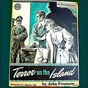 REDUCED 1943 Sunday Novel, Terror On The Island, WWII Era, Philadelphia Inquirer