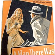 SALE WWII Era 1941 Sunday Novel, A Man There Was, Philadelphia Inquirer