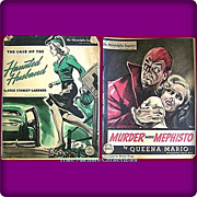 SALE Two WWII Era 1942 Sunday Novels, Murder Meets Mephisto and The Case Of The Haunted Husban