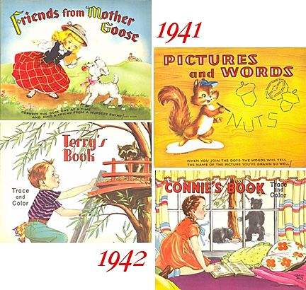 1940's--Two Connect The Dots & Two Trace and Color Books