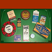 REDUCED Ten Vintage Drug Store Tins & Bottles, Rawleigh's, Sloan's, Alka-Seltzer